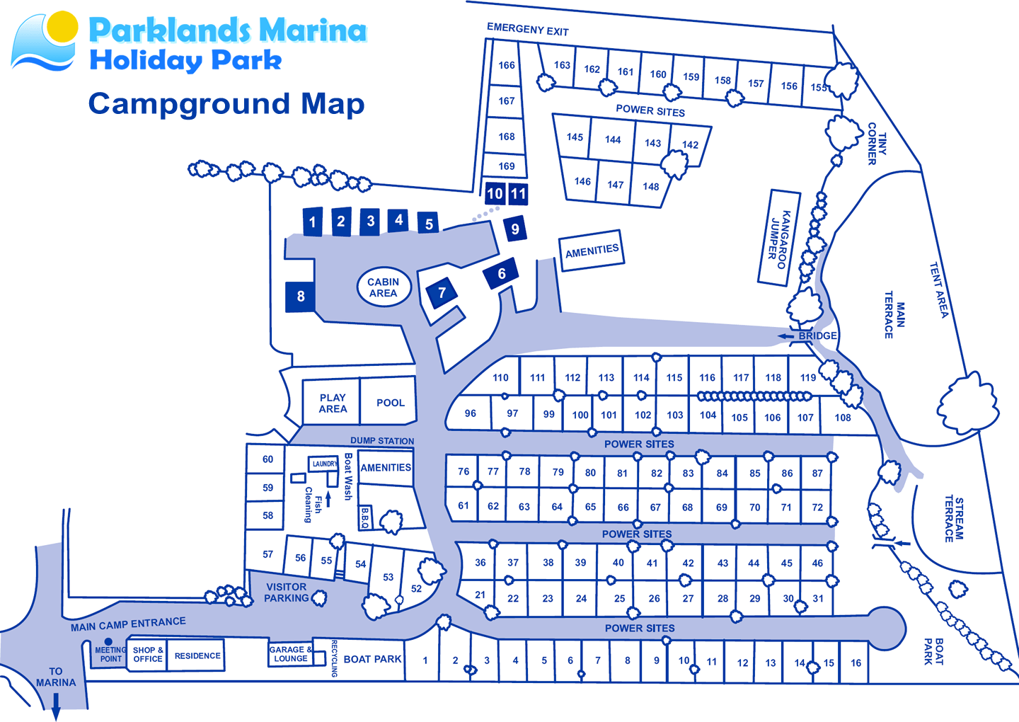 Campground Map For Parklands Marina Holiday Park In Picton NZ
